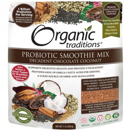 Οργανικός Συνδυασμός Προβιοτικών με Σοκολάτα & Καρύδα  Organic Probiotic Smoothie Mix, Decadent Chocolate Coconut   200gr